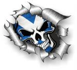 Ripped Torn Metal Design With Skull & Scottish Flag Motif External Vinyl Car Sticker 105x130mm